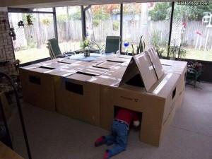 Large, tunneel-style box fort