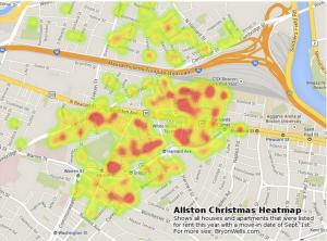 Allston Christmas Heatmap by BryonWells
