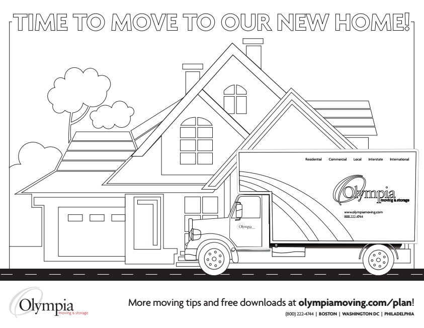 Free Moving Coloring Page for Kids - Olympia Moving & Storage